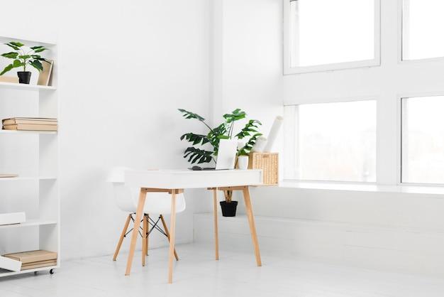 Biuro w stylu nordyckim z biurkiem i roślinami