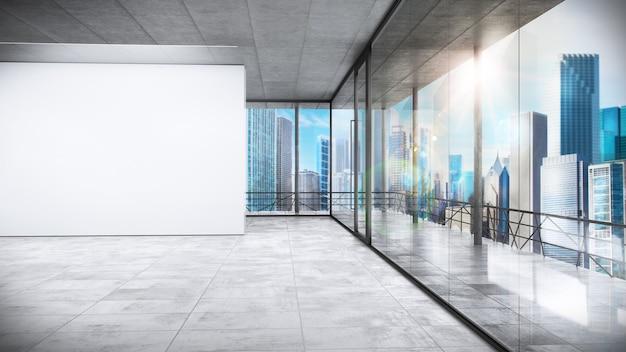 Biuro w wieżowcu z widokiem na miasto