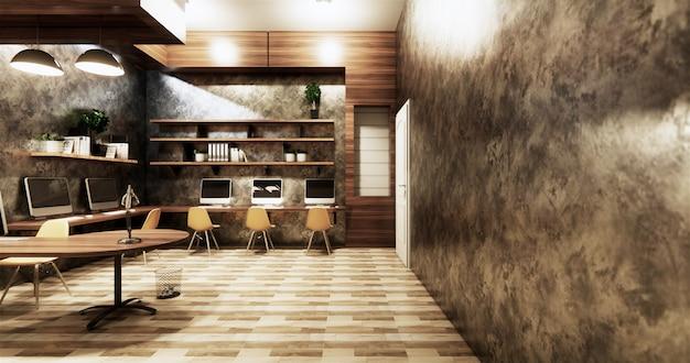 Biurowe studio w stylu loftu, betonowa ściana szara błyszcząca na drewnianych płytkach