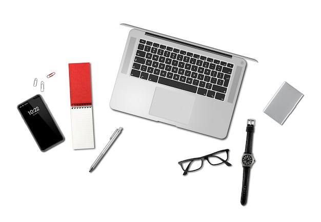 Biurowego biurka makiety odgórny widok odizolowywający na bielu