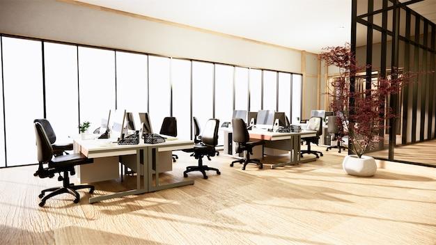 Biurowy biznes - piękna japońska sala konferencyjna i stół konferencyjny, nowoczesny styl. renderowanie 3d
