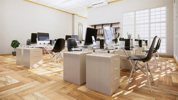 Biurowy biznes - piękny duży pokój biurowy i stół konferencyjny, nowoczesny styl. renderowanie 3d