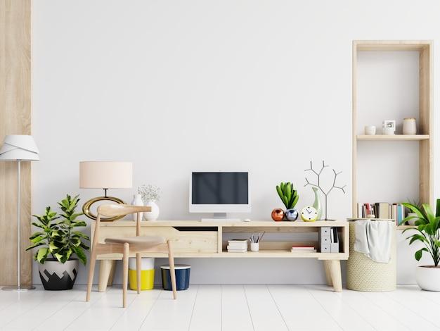 Biurowy pokój z białym tłem.