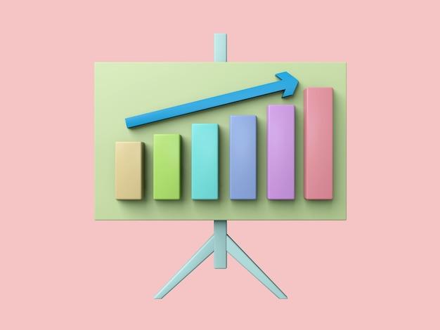 Biznes 3d ikona na tle pastelowych kolorów.