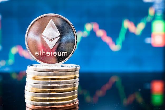Biznes blockchain monety waluty pieniądze na wykresie