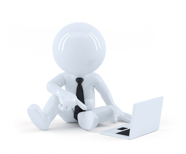 Biznes cz? owiek siedzi i korzystania z laptopa.