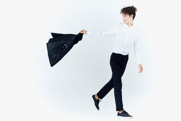 Biznes człowiek kurtka studio światło tło wykonawczy mody