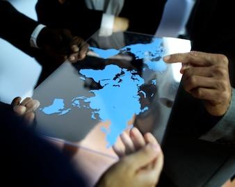 Biznes Drużynowy Globalny Biznesowego planowania Pracujący pojęcie