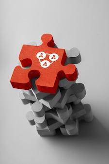 Biznes i ikona hr na kolorowe puzzle