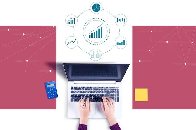 Biznes kobieta ikony komputera i wykresu pracy
