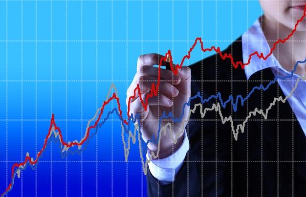 Biznes kobieta pisze wykres