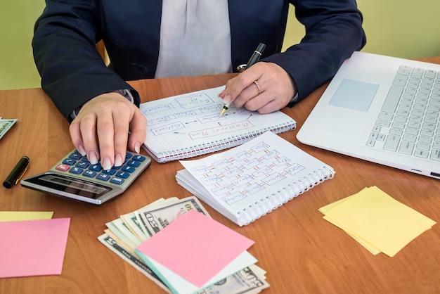 Biznes kobieta planowania strategii działania.