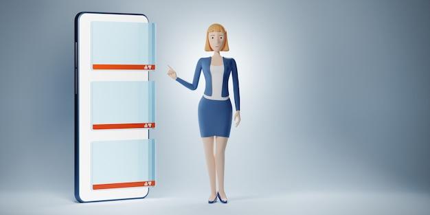 Biznes kobieta postać z kreskówek wskazuje palcem na wyświetlaczu telefonu z pustą kolumną czatu. ilustracja 3d