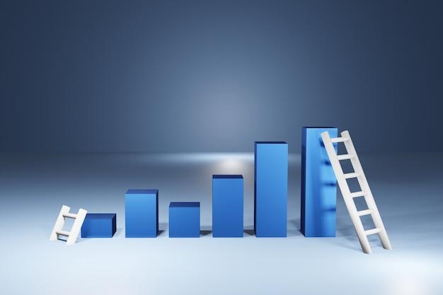 Biznes świeca stick wykres wykres inwestycji giełdowych na niebieskim tle. byczy punkt, trend wykresu