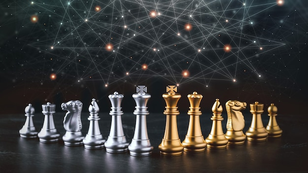 Biznes szachy gra planszowa strategii biznesowej i taktyki z futurystyczną ikoną graficzną na stole. pomysł na zarządzanie konkursem, koncepcja sukcesu i przywództwa dla twoich treści reklamowych.