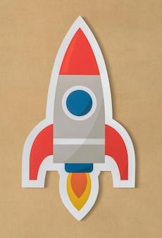 Biznes uruchomienie ikonę statku rakietowego