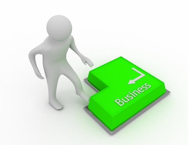Biznesmen 3d ma zamiar nacisnąć przycisk klawiatury biznesowej