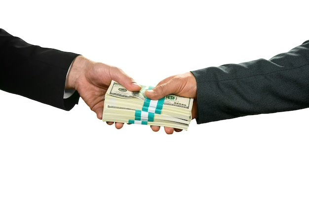 Biznesmen biorąc dolary. pozdrawiam. bardziej niż wdzięczny. dostawca zaufania.