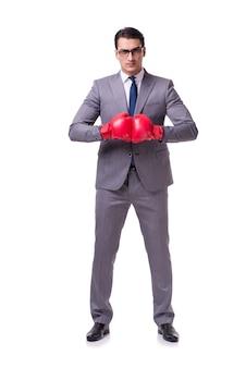 Biznesmen boks na białym tle na białym tle