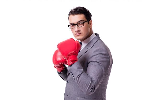 Biznesmen boks na białym tle