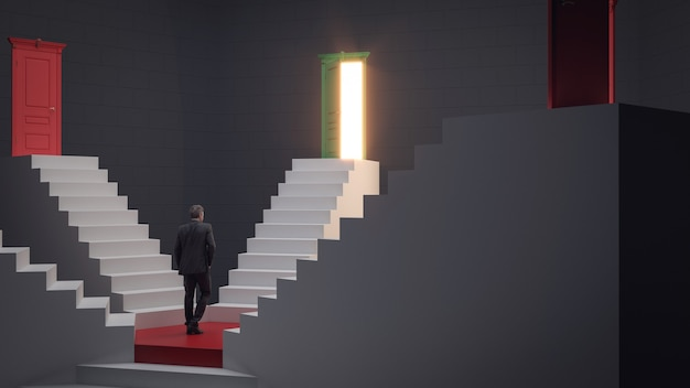 Biznesmen chodzący po schodach do drzwi koncepcji sukcesu i osiągnięć szansy