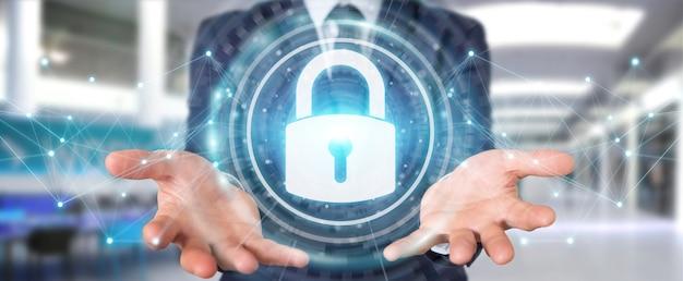 Biznesmen chroniący jego dane z interfejsem bezpieczeństwa