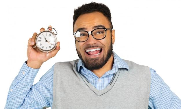 Biznesmen czarny człowiek martwi się o termin.