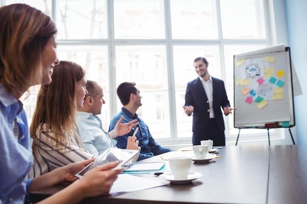 Biznesmen daje prezentacji przed współpracownikami