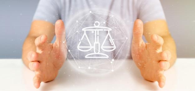 Biznesmen gospodarstwa chmura sprawiedliwości i ikona bańki z renderowania danych 3d