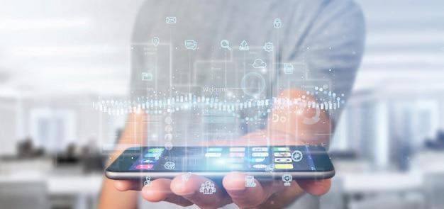 Biznesmen gospodarstwa ekrany interfejsu użytkownika z ikoną, statystyki i renderowania 3d danych