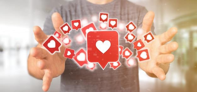 Biznesmen gospodarstwa jak powiadomienie w mediach społecznościowych