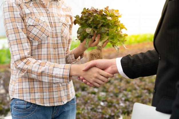 Biznesmen i rolnik uścisnąć dłoń dla hydroponicznego produktu jakości warzyw w gospodarstwie