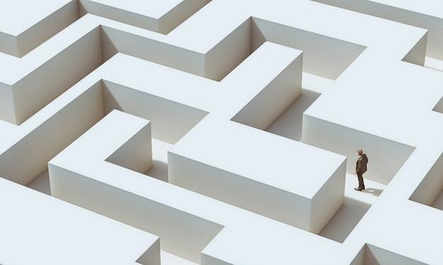 Biznesmen idzie w labiryncie. koncepcja wyzwania. 3d renderowania obrazu i modeli.