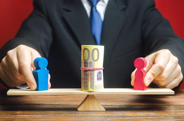 Biznesmen kładzie na szalach postać mężczyzny i kobiety z pieniędzmi.
