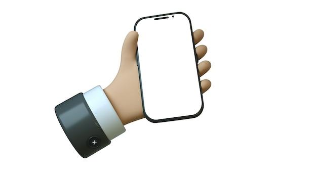 Biznesmen kreskówka ręka trzyma czarny smartfon z miejscem na tekst na białym tle trzy d ilustracji