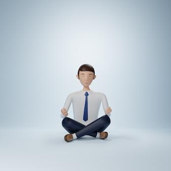 Biznesmen kreskówka siedzi w pozie jogi na białym tle