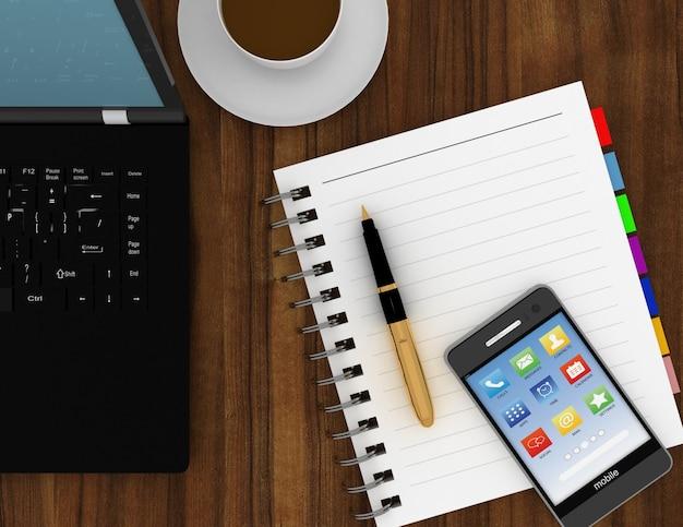 Biznesmen lub miejsce pracy projektanta. 3d renderowana ilustracja