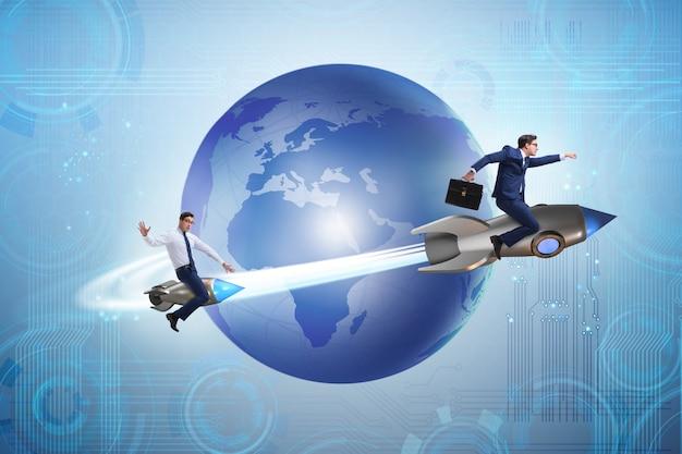 Biznesmen na rakiecie w globalnego biznesu pojęciu