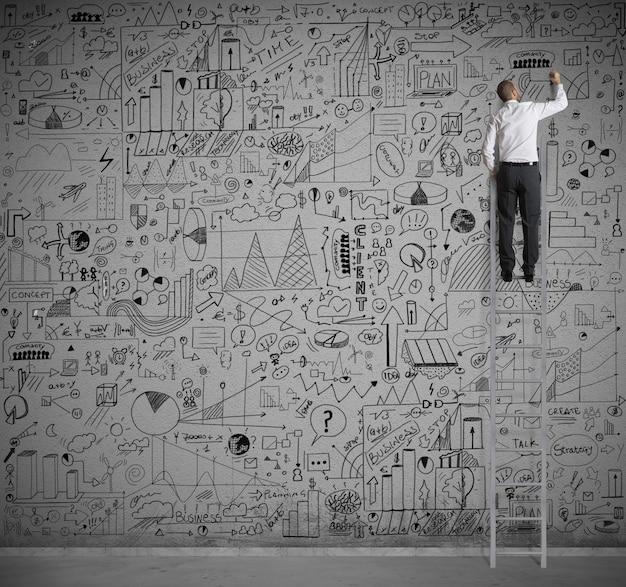 Biznesmen na skali rysowania na ścianie