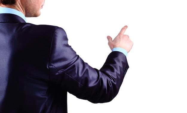 Biznesmen naciska na interfejs ekranu dotykowego