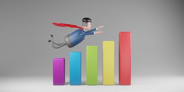 Biznesmen nosić czerwone peleryny latające nad paskiem wykresu biznesowego