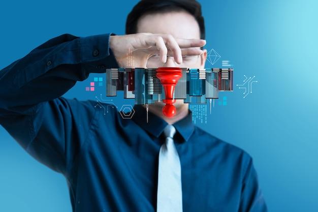 Biznesmen Odwróć Nowoczesny Budynek Szachy, Symbol Zmieniarki Gier Biznesowych Rewolucji Premium Zdjęcia