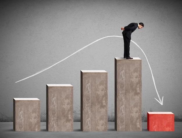 Biznesmen patrząc na negatywne wyniki