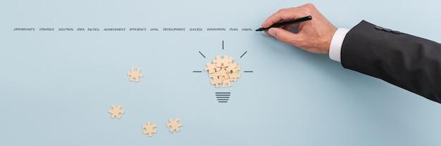 Biznesmen pisze kluczowe słowa sukcesu biznesowego