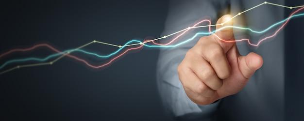Biznesmen planuje wzrost wykresu i wzrost pozytywnych wskaźników wykresu w swojej działalności