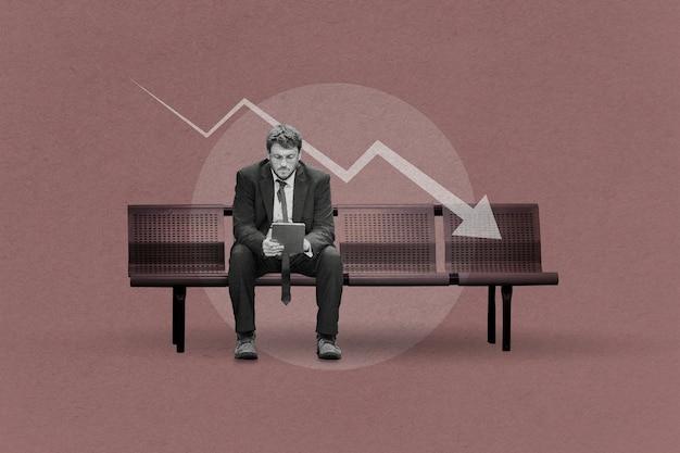 Biznesmen pod presją ekonomicznego wpływu koronawirusa na otoczenie biznesowe