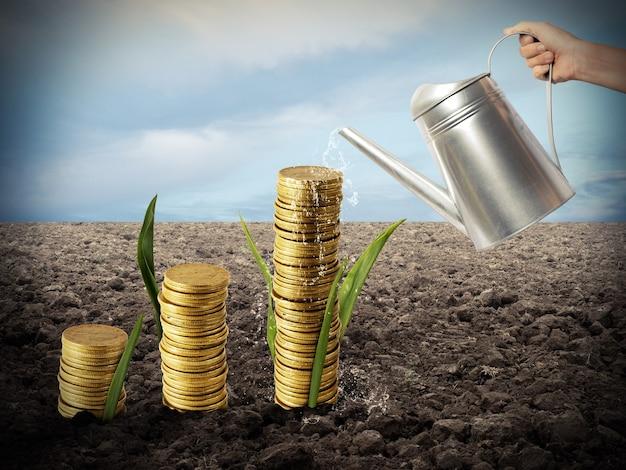 Biznesmen podlewa monety, jakby były roślinami