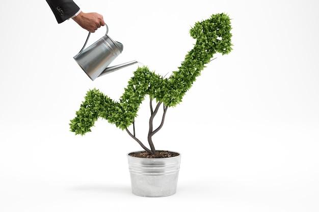 Biznesmen podlewa roślinę, która rośnie jak strzała. renderowanie 3d
