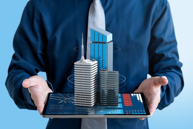 Biznesmen Pokaż 3d Budynek Do Inwestycji Na Ekranie Tabletu. Premium Zdjęcia