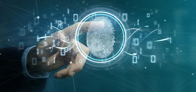 Biznesmen posiadający cyfrowy identyfikator odcisków palców i renderowanie kodu binarnego 3d